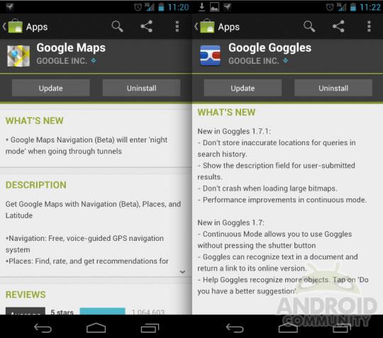 Google обновила Maps и Goggles