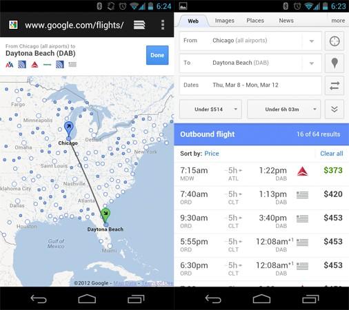 Поиск самолетов от Google оптимизирован для мобильных устройств