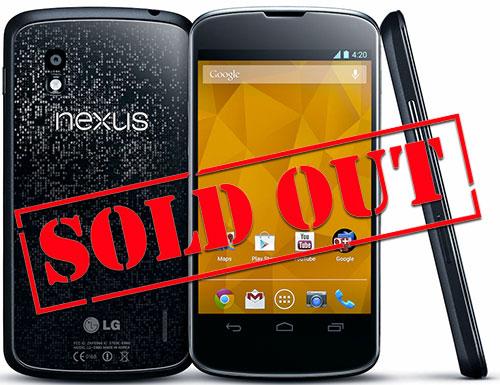 Первая партия Nexus 4 была раскуплена менее чем за полчаса