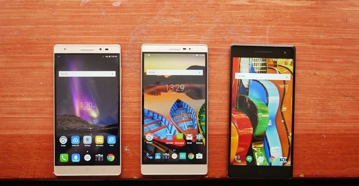Демонстрация внешнего вида экранов новых смартфонов Леново