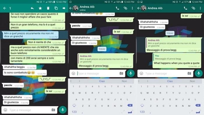 WhatsApp тестирует возможность отправки цитат в диалоге