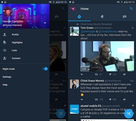интерфейс ночного режима в twitter